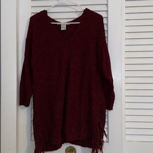Maroon Fringe Sweater